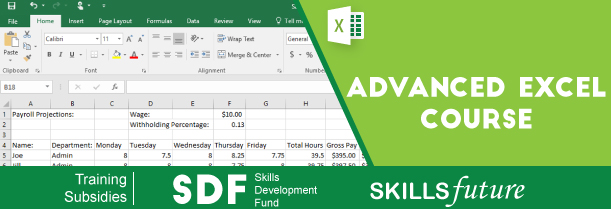 SkillsFuture Microsoft Advanced Excel Course - Excel